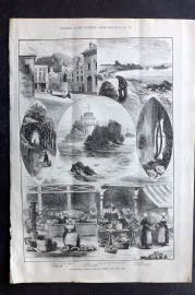 ILN 1880 Antique Print. Whitsuntide Holiday Sketches: Jersey